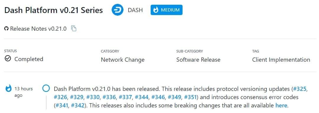 Dash Platform v0.21.0 được ra mắt