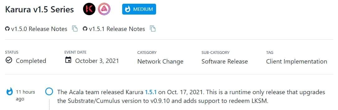 Acala team ra mắt Karura 1.5.1 vào 17/10/2021