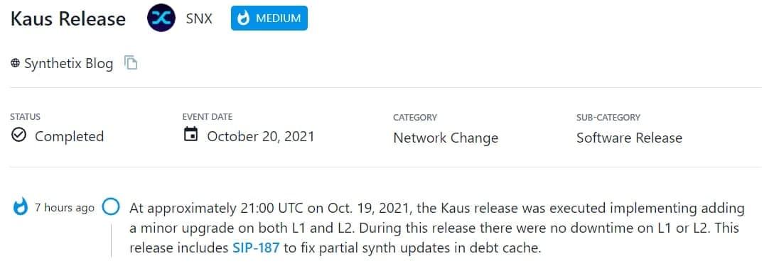 Kaus được thực hiện bằng cách triển khai thêm một bản nâng cấp nhỏ trên cả L1 và L2