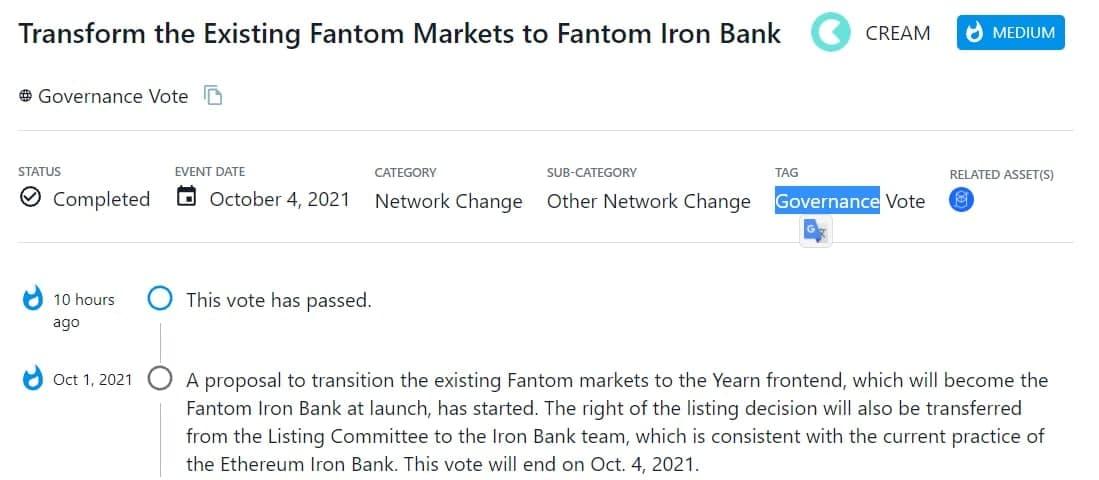 CREAM thông qua đề xuất chuyển đổi các thị trường Fantom hiện có sang giao diện Yearn, sẽ trở thành Fantom Iron Bank