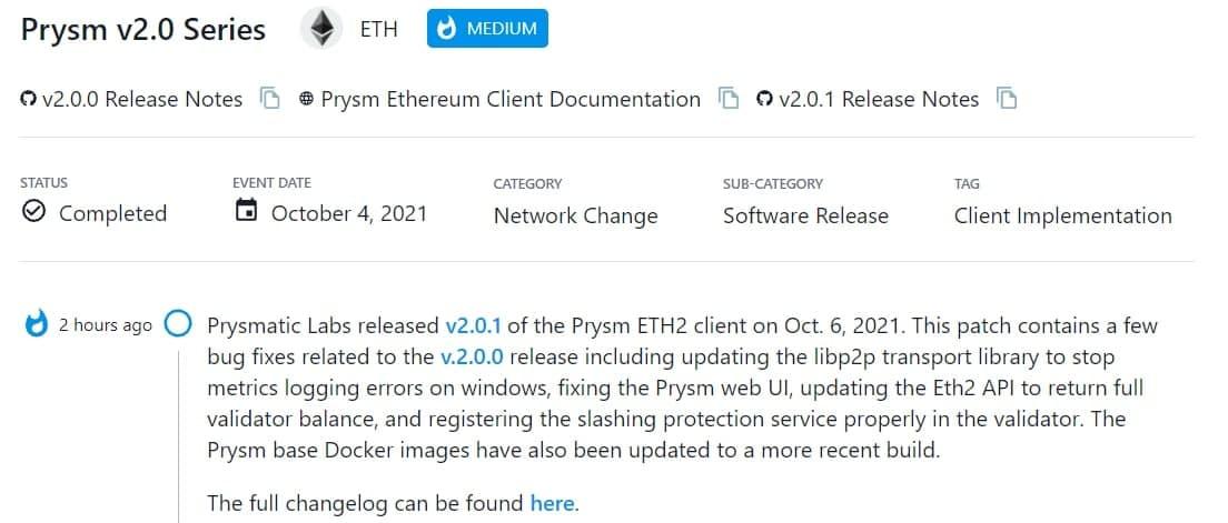 Prysmatic Labs ra mắt v2.0.1 của ETH2 client vào 06/10/2021