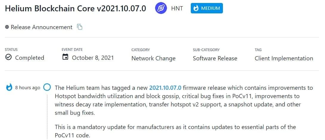 Helium team chia sẻ thông tin về 2021.10.07.0 firmware
