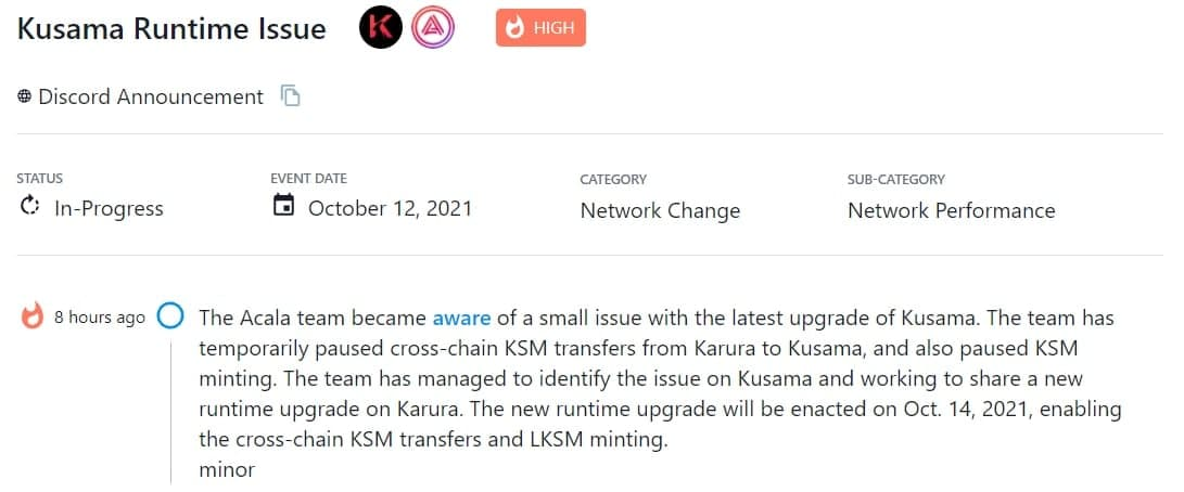 Acala team nhận ra vấn đề nhỏ trong bản nâng cấp Kusama gần nhất