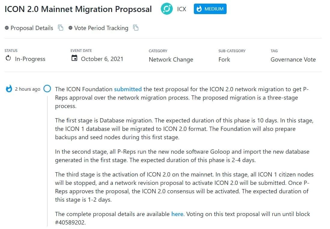ICON Foundation đề xuất di chuyển mạng ICON 2.0 để được P-Reps phê duyệt