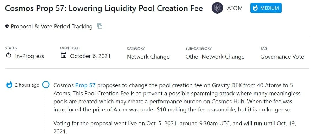 Cosmos Prop 57 đề xuất thay đổi phí tạo pool trên Gravity DEX từ 40 ATOM thành 5 ATOM