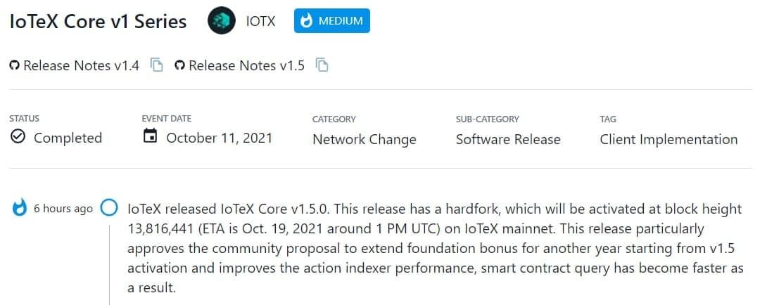 IoTeX Core v1.5.0 được ra mắt