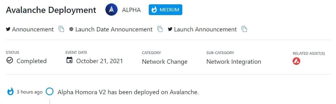 Alpha Homora V2 đã được triển khai trên Avalanche