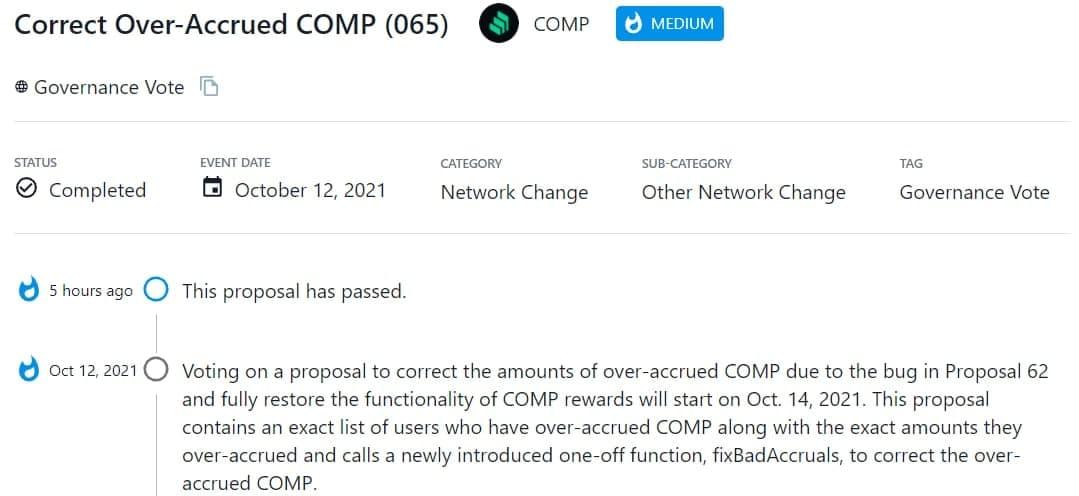 Thông qua đề xuất sửa số lượng COMP đã tích lũy quá mức do lỗi trong Proposal 62