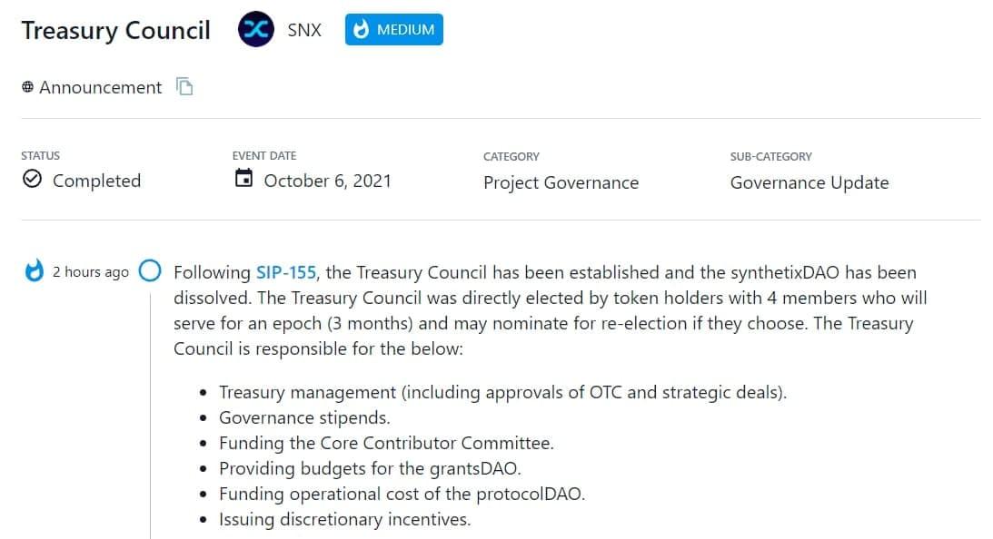 Theo SIP-155, Treasury Council được thành lập và giải thể synthetixDAO