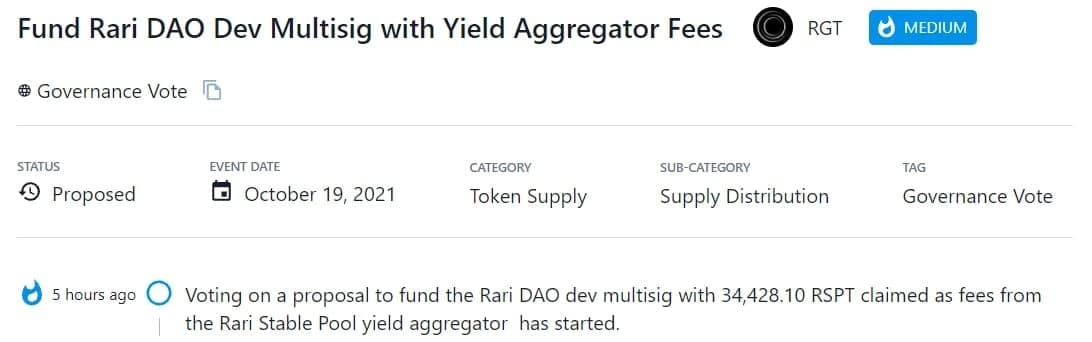 RGT bỏ phiếu cho đề xuất tài trợ 34,428,10 RSPT cho nhiều đơn vị phát triển Rari DAO