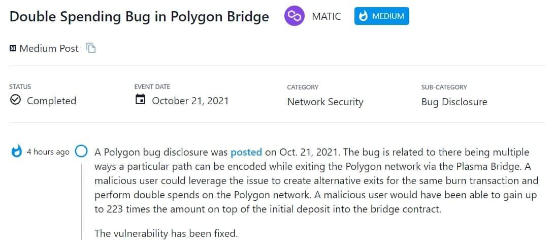 Polygon sửa một lỗ hổng bảo mật