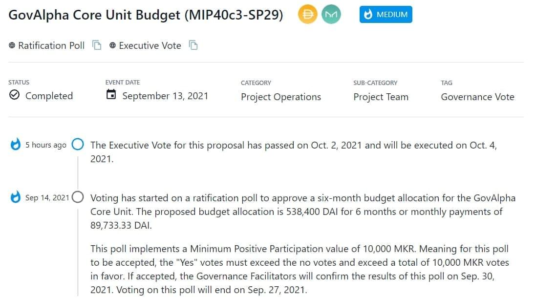 Executive Vote thông qua việc phân bố ngân sách cho GovAlpha Core Unit và thực thi vào 04/10/2021
