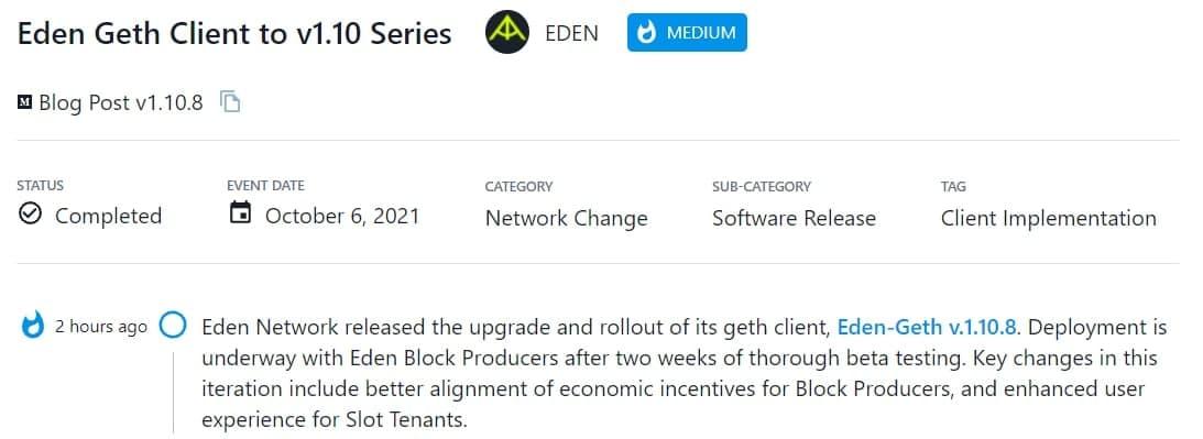 Eden Network phát hành Eden-Geth v.1.10.8