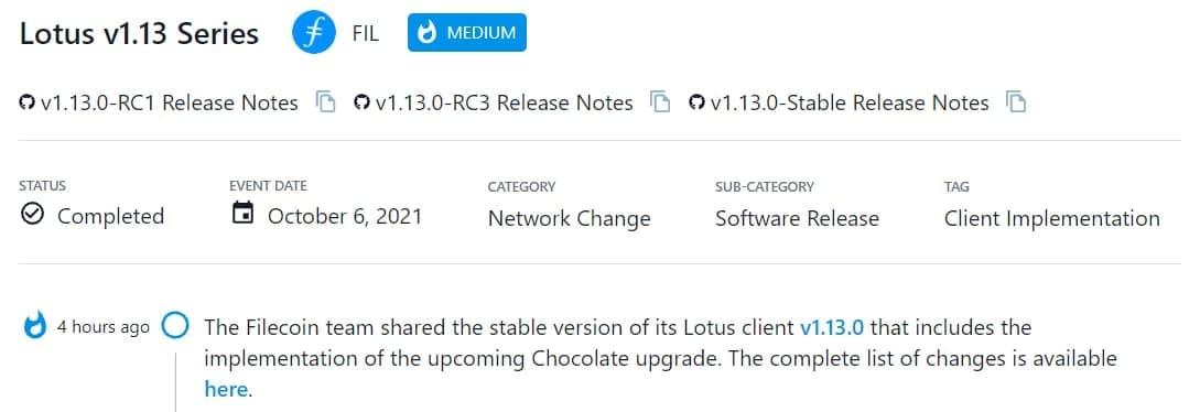 Filecoin team chia sẻ phiên bản ổn định v1.13.0