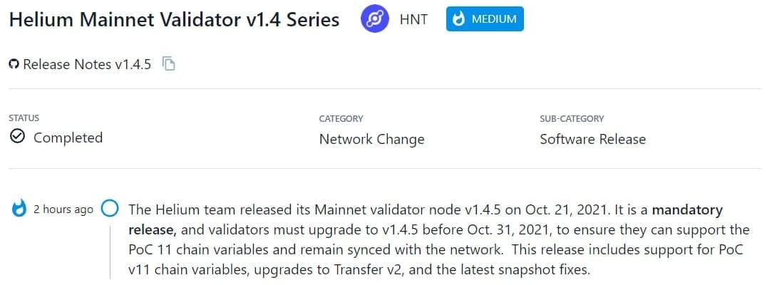 Helium team ra mắt Mainnet validator node v1.4.5
