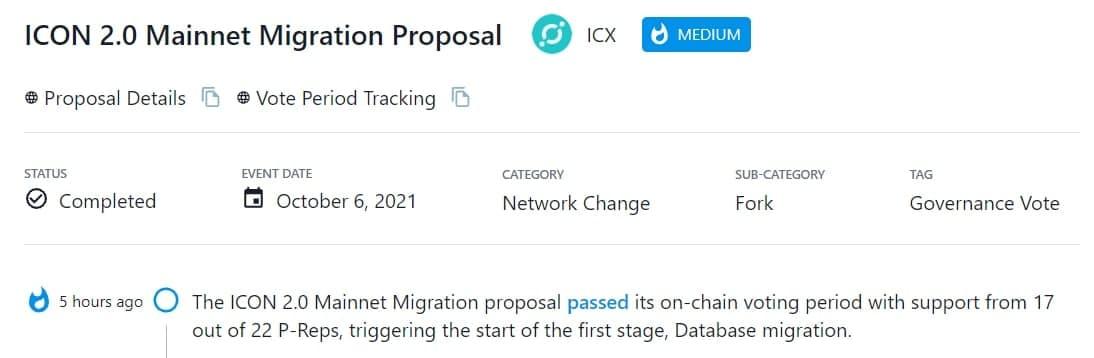 Đề xuất ICON 2.0 Mainnet Migration đã được thông qua