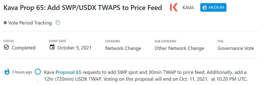 Kava Proposal 65 yêu cầu thêm SWP spot và 30min TWAP vào nguồn cấp giá