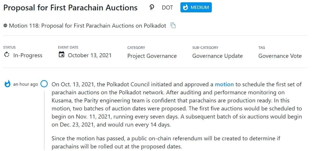 Polkadot Council thông qua một đề nghị lên lịch dự kiếm cho cuộc đấu giá parachain đầu tiên trên mạng Polkadot