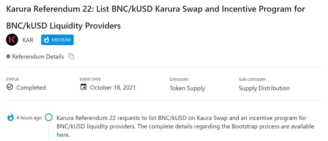 Karura Referendum 22 yêu cầu niêm yết và khuyến khích thanh khoản cho BNC/kUSD trên Kaura Swap