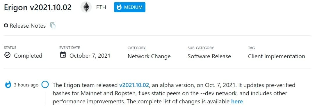 Erigon team ra mắt phiên bản alpha v2021.10.02