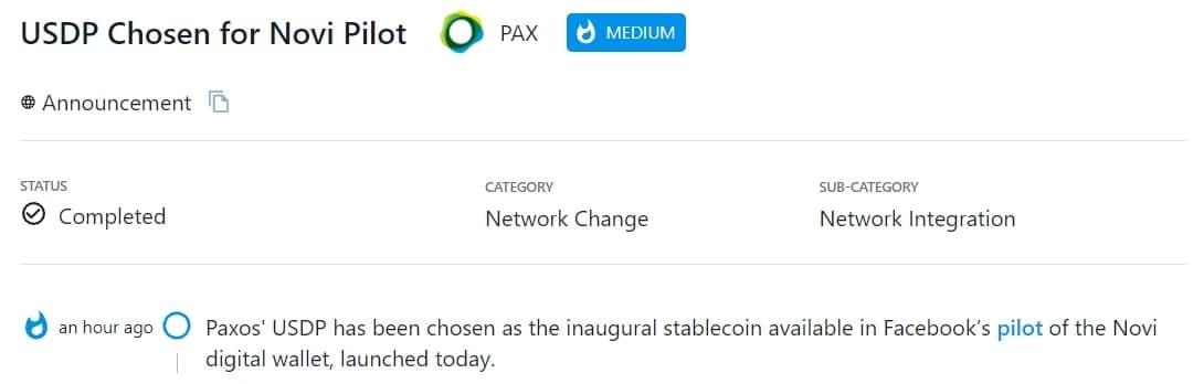 USDP của Paxos được chọn làm stablecoin đầu tiên thử nghiệm ví kỹ thuật số Novi của Facebook