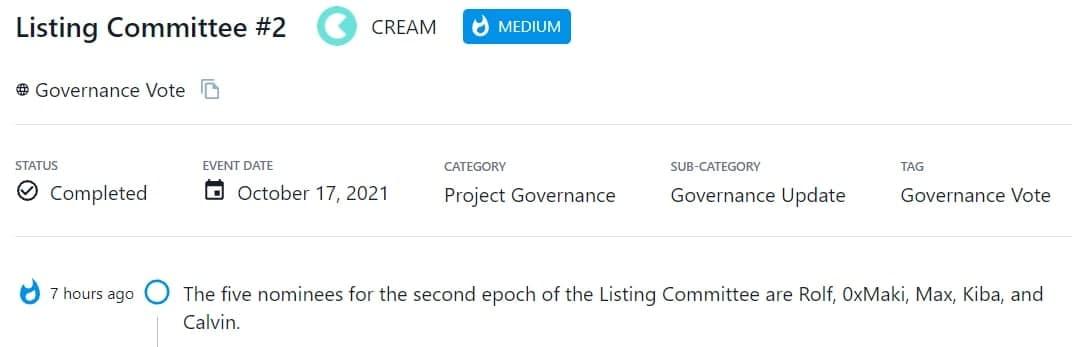 CREAM đề cử 5 ứng viên cho epoch thứ 2 của Listing Committee