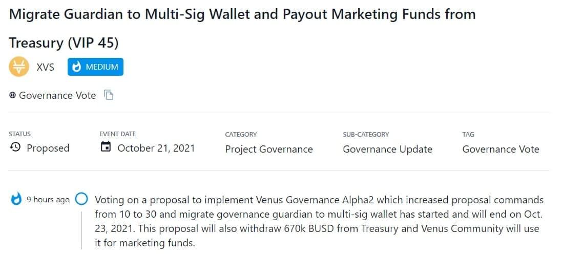XVS bỏ phiếu cho đề xuất triển khai Venus Governance Alpha2