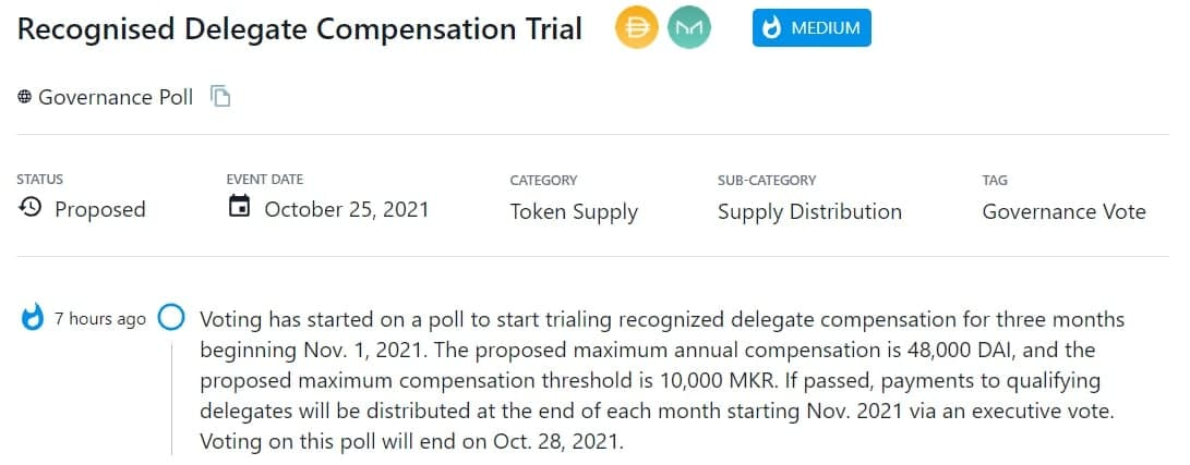 MKR bỏ phiếu thăm dò để bắt đầu thử nghiệm khoản bồi thường ủy quyền được công nhận