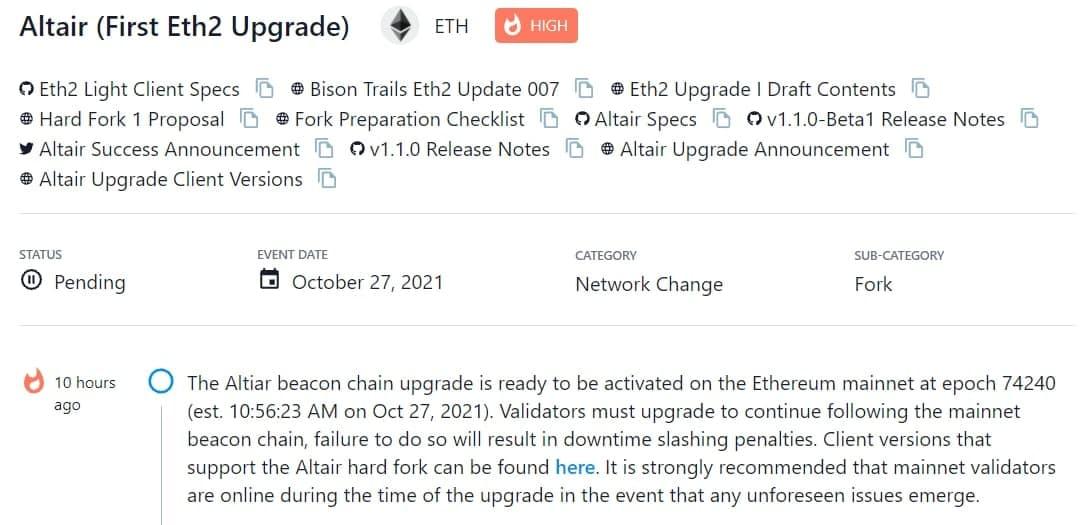 Nâng cấp Altair beacon chain đã sẵn sàng được kích hoạt trên Ethereum mainnet vào epoch 74240 ước tính 10:56:23 AM 27/ 10/202