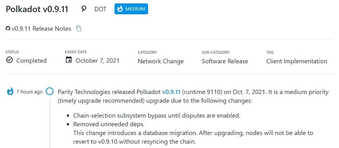 Parity Technologies ra mắt Polkadot v0.9.11 (runtime 9110) vào 07/10/2021