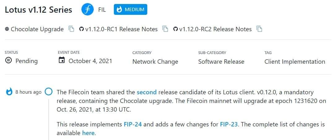 Filecoin team chia sẻ bản phát hành ứng viên thứ 2 cho Lotus client v0.12.0 bao gồm nâng cấp Chocolate
