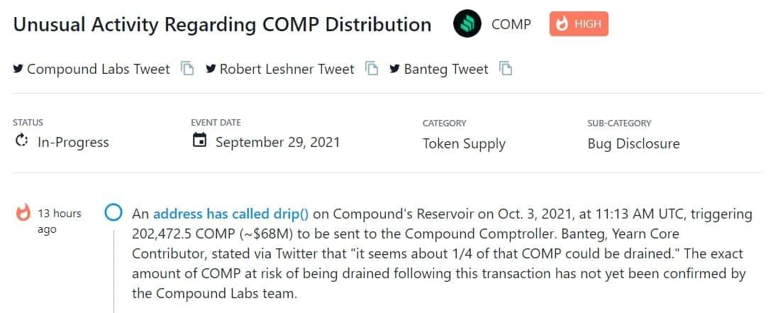 Một địa chỉ drip() trong Reservoir của Compound kích hoạt 202,472.5 COMP (~$68M) gửi đến Compound Comptroller