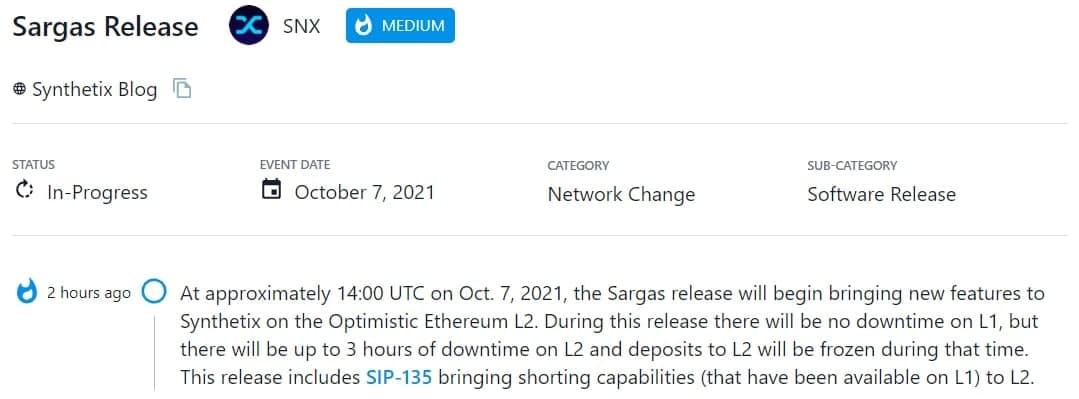 Vào 14:00 UTC 07/10/2021, Sargas bắt đầu mang các tính năng mới cho Synthetix trên Optimistic Ethereum L2