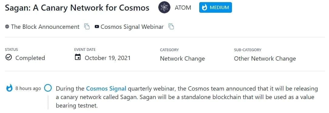 Cosmos thông báo sẽ phát hành một canary network có tên là Sagan
