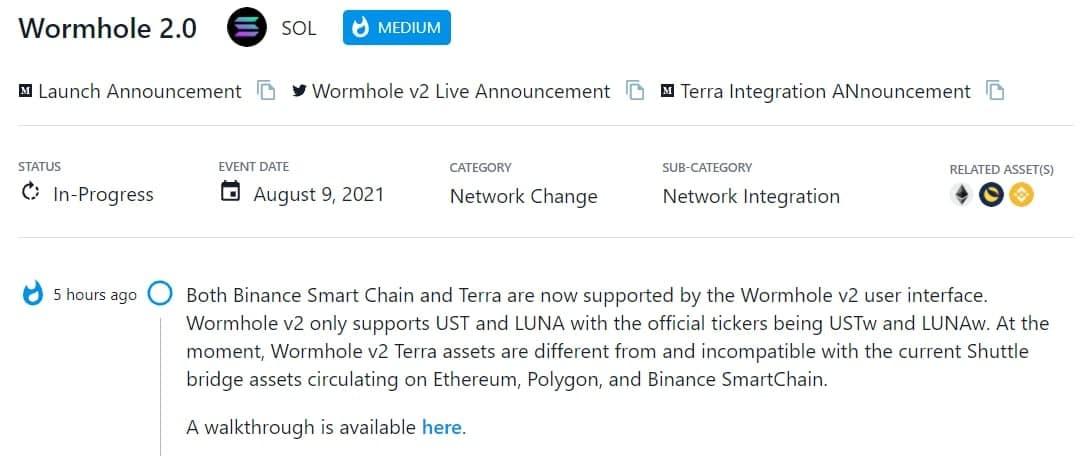 Binance Smart Chain và Terra đều được hỗ trợ bởi giao diện người dùng Wormhole v2