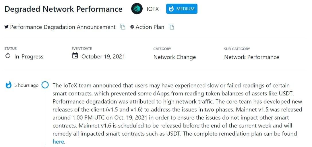 IoTeX team thông báo người dùng có thể đã gặp phải tình trạng đọc chậm hoặc không thành công đối với một số hợp đồng thông minh nhất định