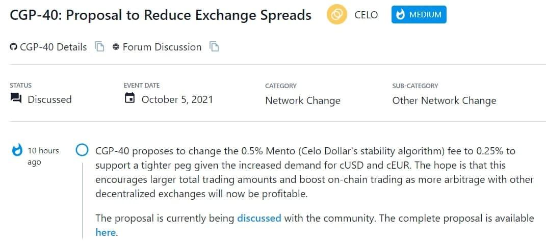 CGP-40 đề xuất thay đổi phí Mento (thuật toán ổn định của Celo Dollar) từ 0,5% thành 0,25%