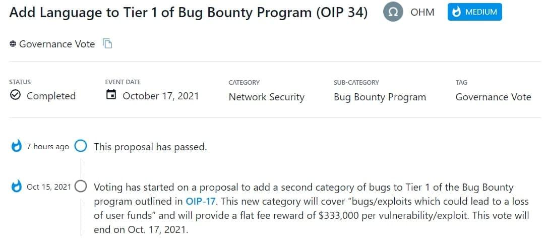 OHM thông qua đề xuất thêm loại lỗi thứ 2 vào Tier 1 của chương trình Bug Bounty