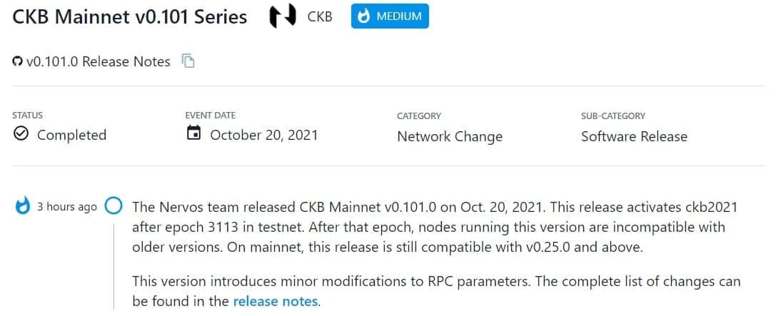 Nervos team ra mắt CKB Mainnet v0.101.0