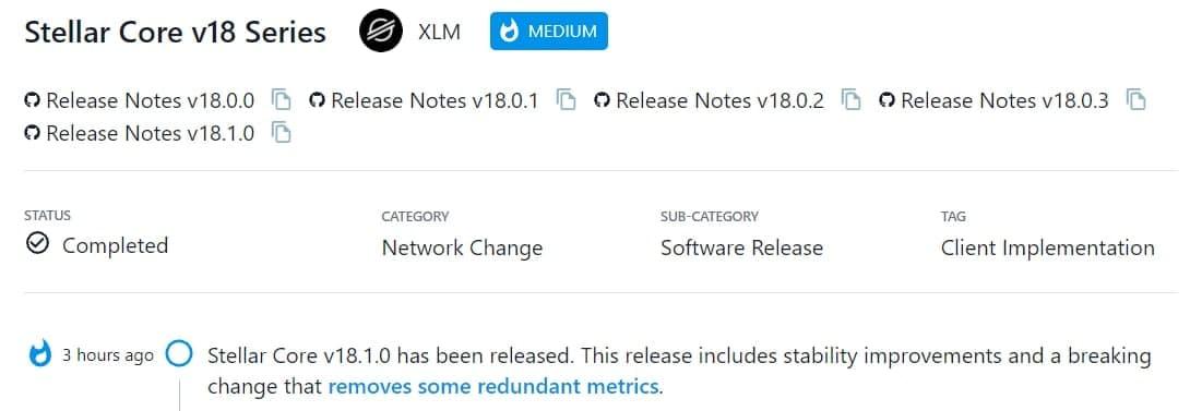 Stellar Core v18.1.0 được ra mắt
