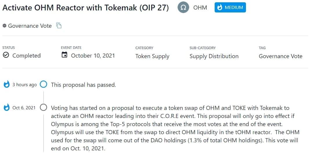 OHM thông qua đề xuất thực hiện swap OHM và TOKE với Tokemak