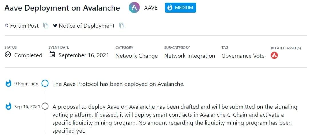 Thông qua đề xuất triển khai Aave lên Avalanche