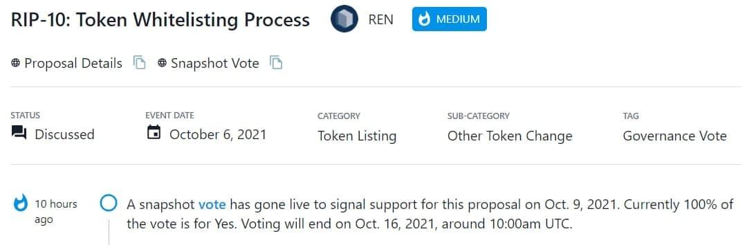 Bỏ phiếu nhanh diễn ra trực tiếp nhằm ủng hộ RIP - 10 vào 09/10/2021