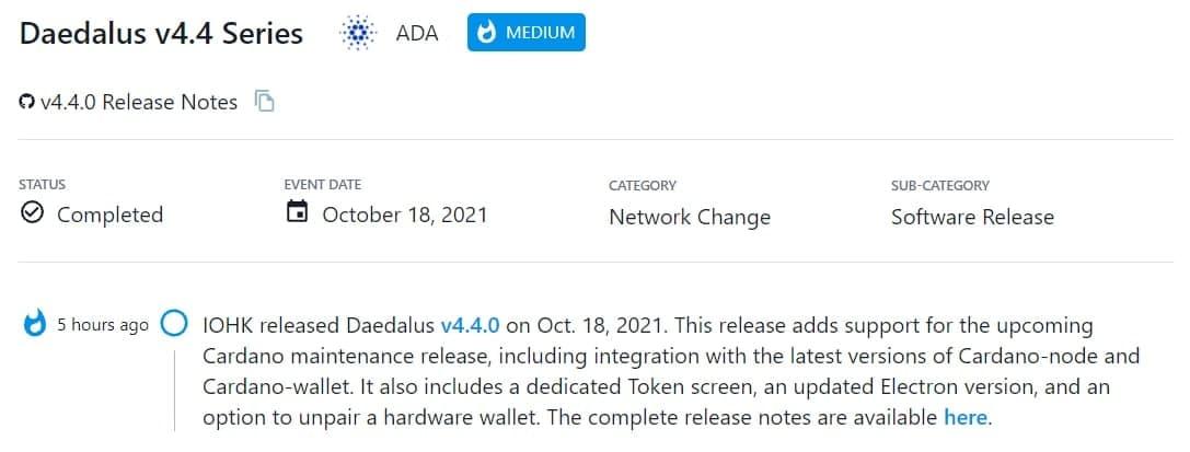 IOHK ra mắt Daedalus v4.4.0 vào 18/10/2021