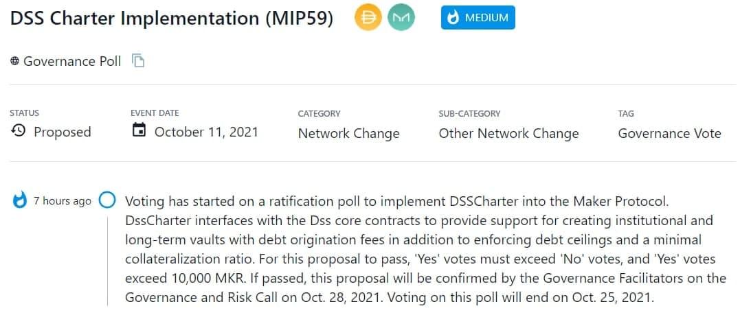 Đề xuất triển khai DSSCharter vào Maker Protocol đang được bỏ phiếu