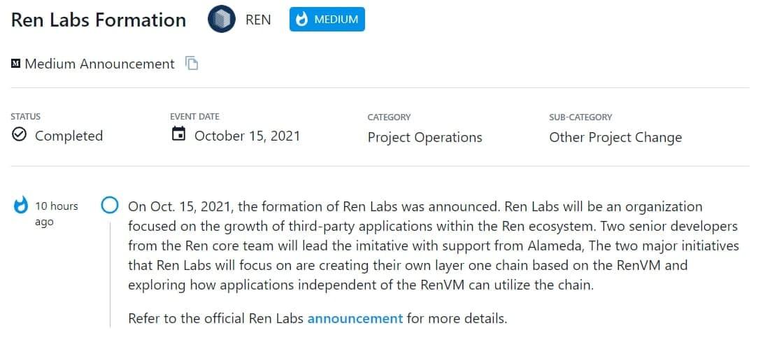 Ren Labs đã được công bố vào 15/10/2021