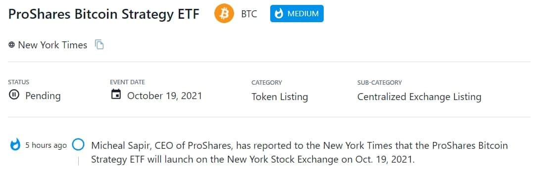 ProShares Bitcoin Strategy ETF sẽ ra mắt trên New York Stock Exchange vào 19/10/2021