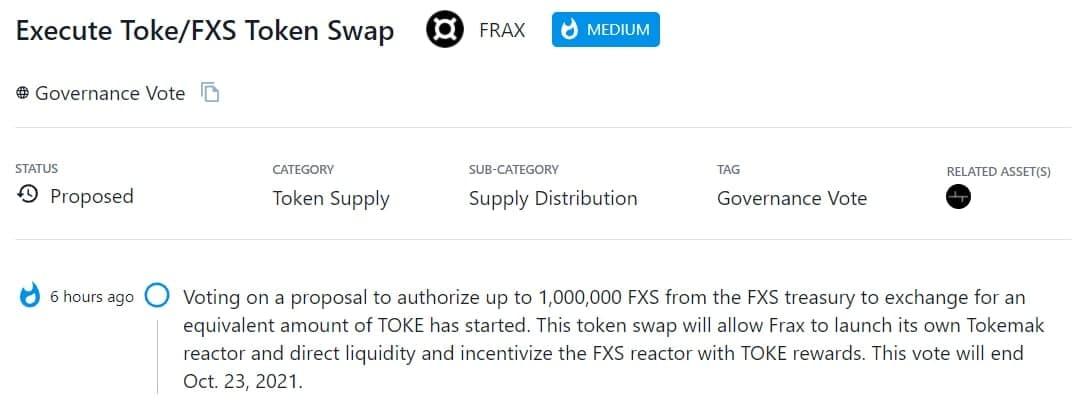 FRAX bỏ phiếu đề xuất ủy quyền 1.000.000 FXS để đổi lấy TOKE