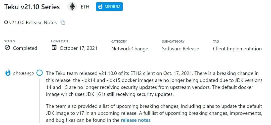 Teku team ra mắt v21.10.0 của ETH2 client vào 17/10/2021