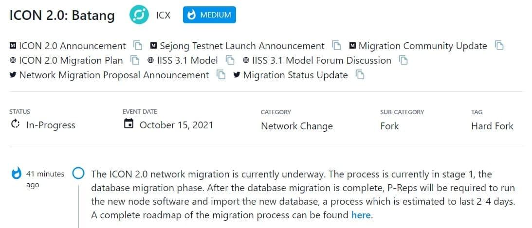 Quá trình di chuyển mạng ICON 2.0 hiện đang được tiến hành